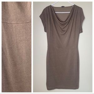 Ann Taylor Brown Stretch Fitted Cowl Neck Dress M